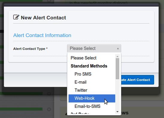 Добавить контакт для уведомлений на uptimerobot.com