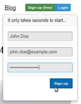 Форма для регистрации на uptimerobot.com